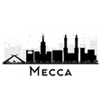 Mecca City skyline black and white silhouette vector image