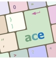ace on computer keyboard key enter button vector image