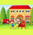 Children playing at school playground vector image