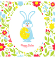 Easter bunny card with eggs and flowers vector image