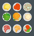 food in plates set vector image