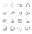 line media entertainment and technology icons vector image