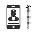 mobile doctor icon with job bonus vector image