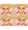 Skull and Flowers Day of The Dead Seamless vector image
