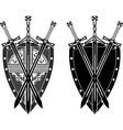Three swords and shield stencil vector image