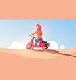 young girl riding electric scooter travel on vector image