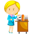 Flight attendant and many drinks on trolley vector image vector image
