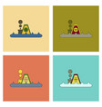 assembly flat icons flood house vector image