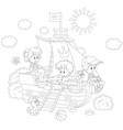 children playing on a ship vector image vector image