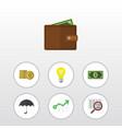 flat icon gain set of growth billfold greenback vector image