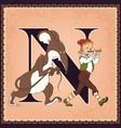 children book cartoon fairytale alphabet letter n vector image