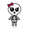 cute kawaii girl skeleton isolated halloween vector image