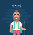 Hiking Concept Smiling Bearded Young Man with vector image