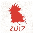 silhouette of roostermade by paints vector image