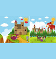 two background scenes with dragon and knight vector image