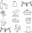 Doodle of thanksgiving vegetable food vector image
