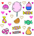 collection stock of candy various colorful doodles vector image