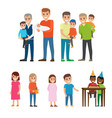 fathers holding kids on hands and children set vector image