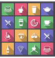 drink and food icons in flat design vector image