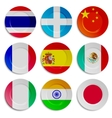 Set of plates with flags isolated on white vector image