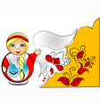 decorative background with doll matreshka vector image