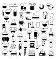 set of cartoon mechanisms silhouettes vector image