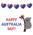 Australia Day card with a koala and bunting hearts vector image