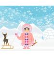 little Eskimo girl and her dog vector image