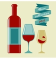 wine collection 2015 glasses and bottle vector image vector image