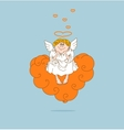 Angel in love sits on cloud vector image