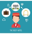 best hotel set services icons vector image
