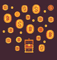 bitcoin and golden coints with open chest pixel vector image