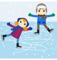 ice skating boy and girl vector image