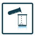 Icon of chemistry beaker pour liquid in flask vector image