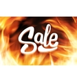 Sale inscription in fire flames banner vector image