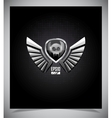 Shield with skull and wings vector image vector image