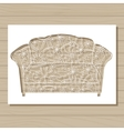 stencil template of couch on wooden background vector image