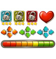 Game elements with locks and arrows vector image