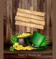 saint patricks day background with a green hat vector image vector image