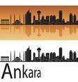 Ankara skyline in orange background vector image vector image