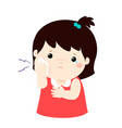 little girl having toothache cartoon vector image