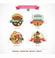 World Cities labels - Sucre Buenos Aires Munich vector image vector image