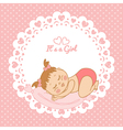 Greeting card with birthday girl vector image