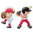 Young baseball players vector image