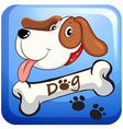 Dog and bone on badge vector image