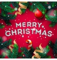 Merry Christmas greeting card with fir branch vector image vector image