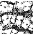 Black and white seamless with female faces vector image