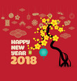chinese new year with blossom and lantern vector image