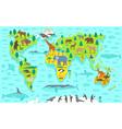 Funny cartoon world map vector image