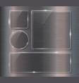 Glass banner set on steel metallic background vector image